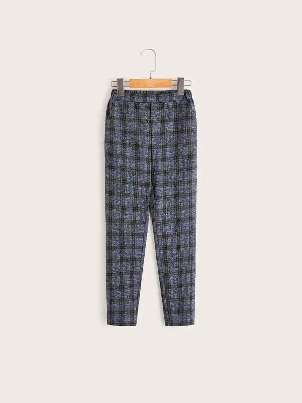 Boys Slant Pocket Plaid Pants