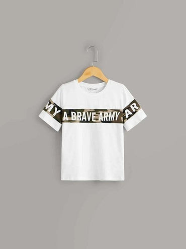 Boys Slogan And Camo Print Tee