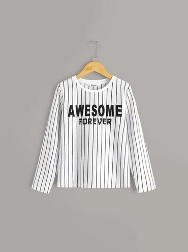 Boys Slogan And Striped Top