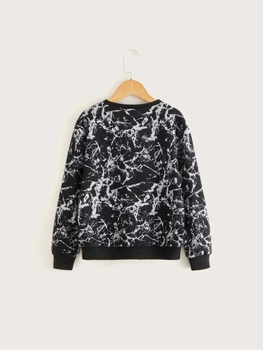 Boys Slogan Graphic Marble Pullover