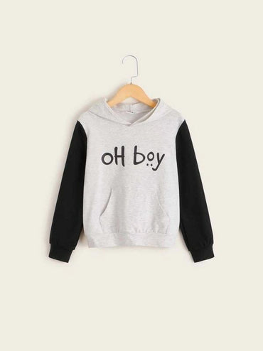 Boys Slogan Graphic Pocket Front Two Tone Hoodie