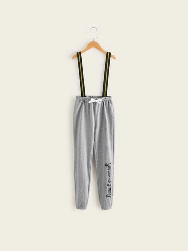 Boys Slogan Print Suspender Sweatpants