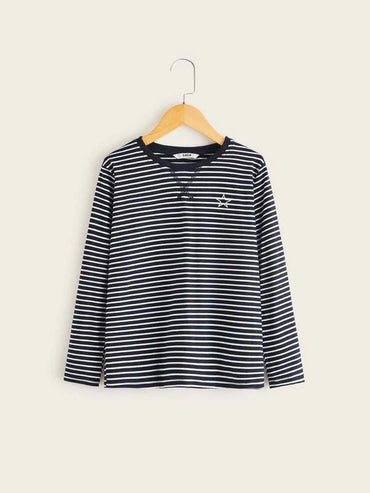 Boys Star Print Stitch Detail Striped Tee