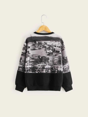 Boys Street View Print Pullover