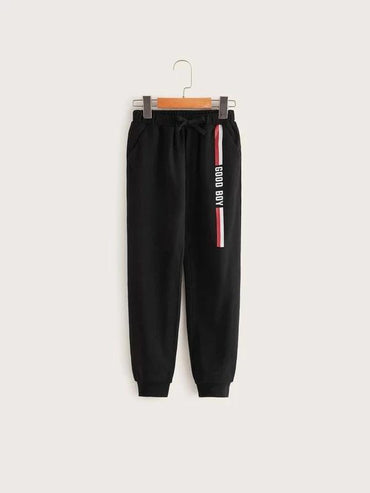 Boys Striped And Slogan Graphic Sweatpants