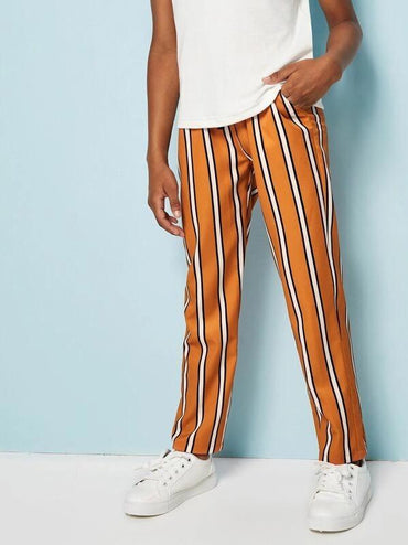Boys Striped Drawstring Waist Pants