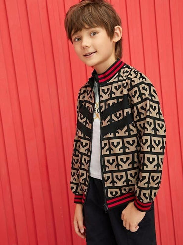 Boys Striped Trim Graphic Print Zip Up Bomber Jacket