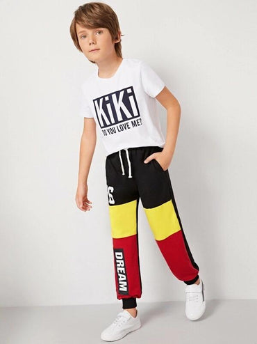 Boys Tie Front Cut-And-Sew Letter Sweatpants