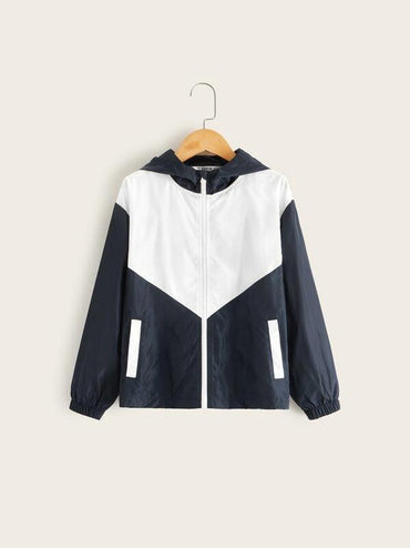 Boys Two Tone Zip Up Windbreaker Jacket