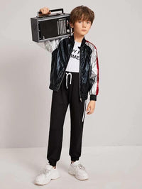 Boys Zip Up Colorblock Metallic Bomber Jacket