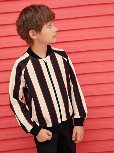 Boys Zip Up Striped Bomber Jacket