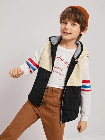 Boys Zip Up Two Tone Teddy Vest Hoodie