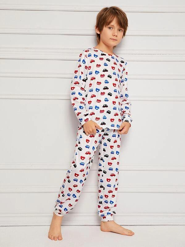 Boys Car Print Tee And Pants PJ Set