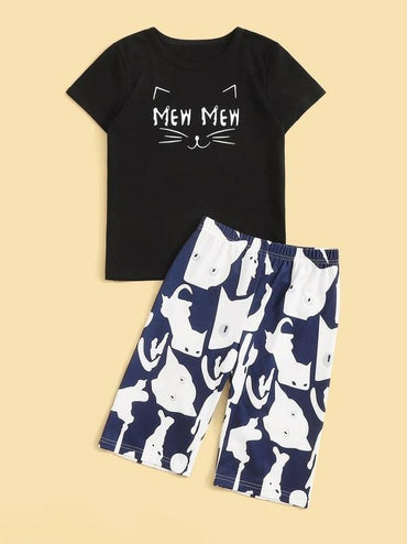 Boys Cat & Letter Print Pajama Set