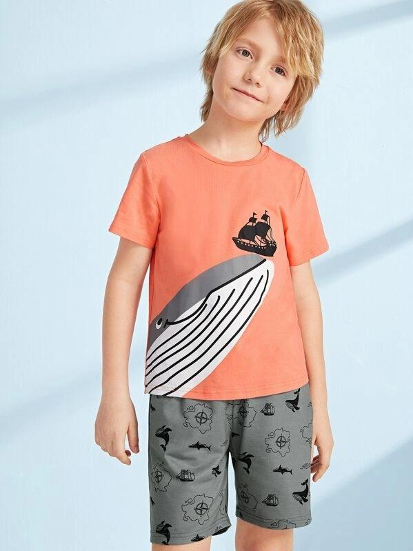 Boys Mixed Print Round Neck Top And Shorts Set