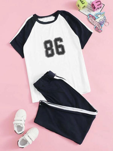 Boys Number Print Raglan Sleeve PJ Set