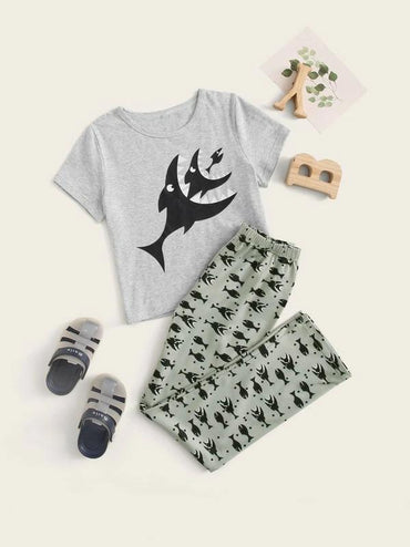 Boys Shark Print Pajama Set