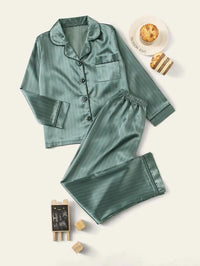Boys Striped Button-Up Satin PJ Set