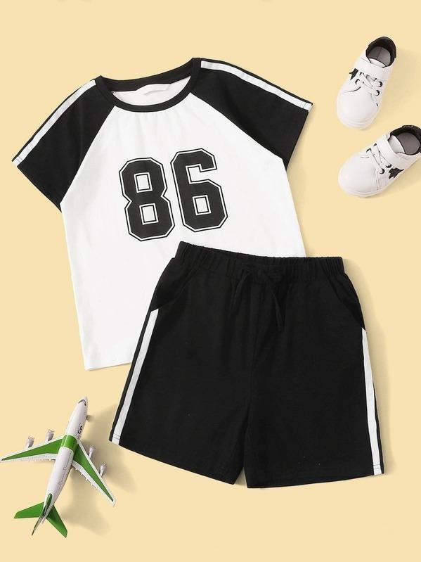 Boys Striped Raglan Sleeve Top And Shorts PJ Set