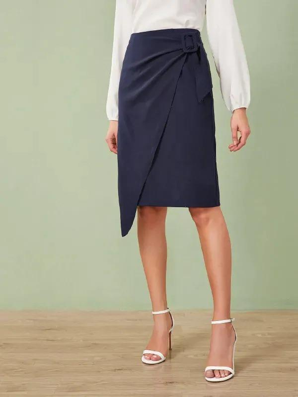 Women Buckle Detail Wrap Skirt