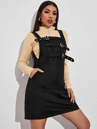 Women Buckle Detail Pocket Side Overall Dress