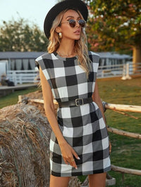 Women Buffalo Plaid Shoulder Pad Dress Without Belt