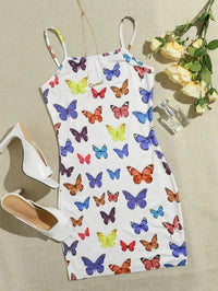 Women Butterfly Print Cami Bodycon Dress