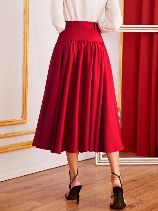 Women Button Front Belted Flare Skirt