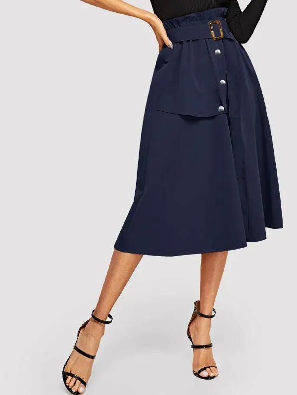 Women Button Front Belted Paperbag Utility Skirt