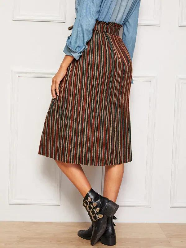 Women Button Front Colorful Striped Belted Paperbag Skirt