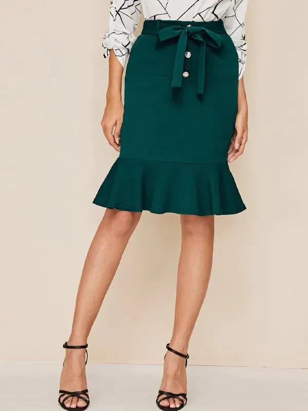 Women Button Front Ruffle Hem Belted Pencil Skirt