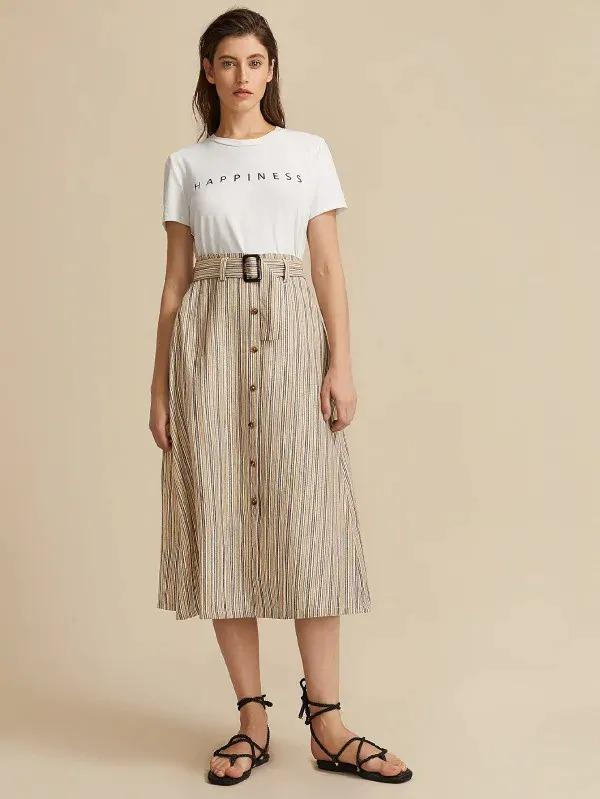 Women Button Front Striped Skirt With Belt