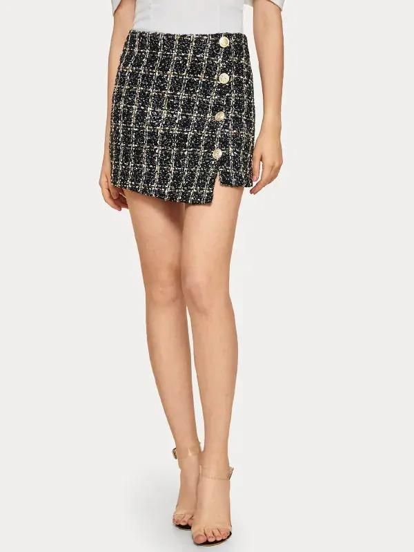 Women Button Front Tweed Mini Skirt