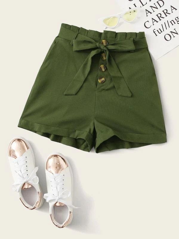 Women Button Front Belted Paperbag Shorts