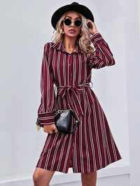 Women Button Front Belted Striped Dress