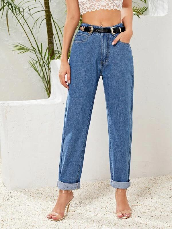 Women Button Front Boyfriend Jeans Without Belt