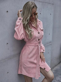 Women Button Front Flap Pocket Belted Corduroy Dress