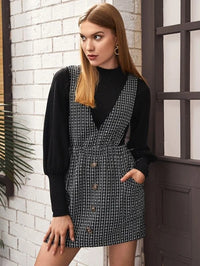 Women Button Front Flap Pocket Tweed Overall Dress
