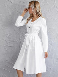Women Button Front Patch Pocket Belted Dress
