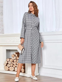 Women Button Front Plaid Belted Shirt Dress