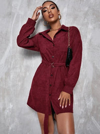 Women Button Front Pocket Patched Belted Dress