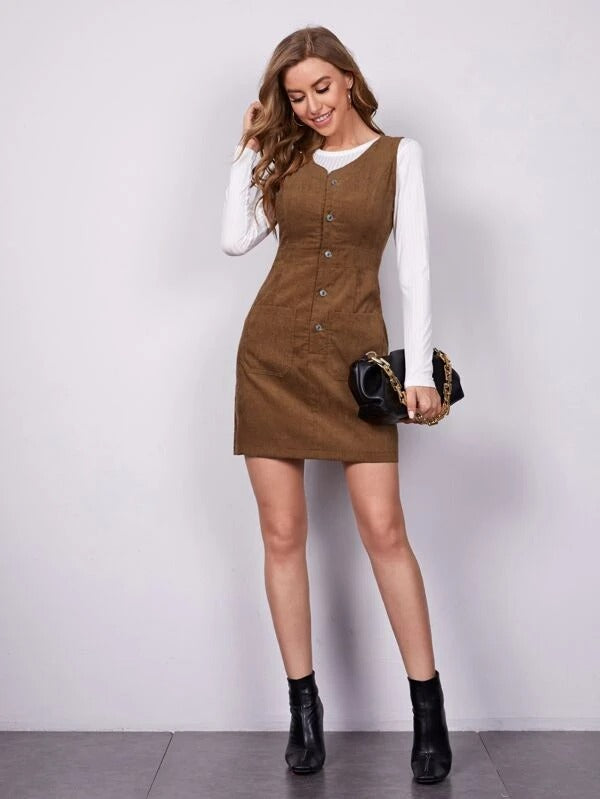 Women Button Front Pocket Patched Corduroy Dress With Solid Tee