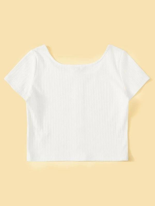 Women Button Front Rib-knit Crop Tee
