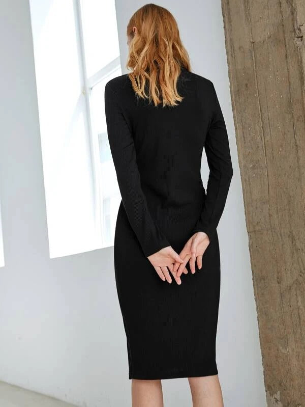 Women Button Front Rib-knit Fitted Dress