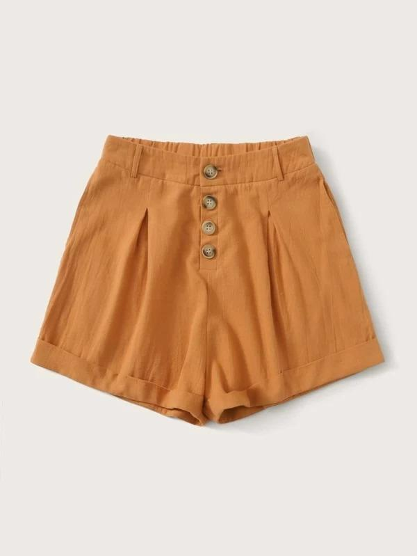 Women Button Front Rolled Hem Shorts
