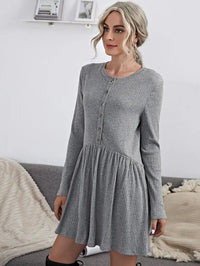 Women Button Front Solid Dress