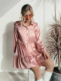Women Button Through Satin Smock Dress Without Belted
