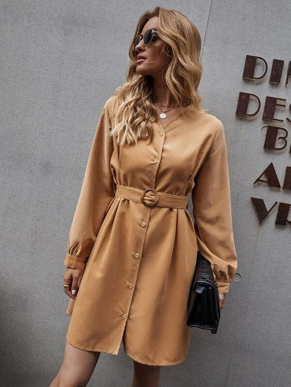 Women Button Up Belted Shirt Dress