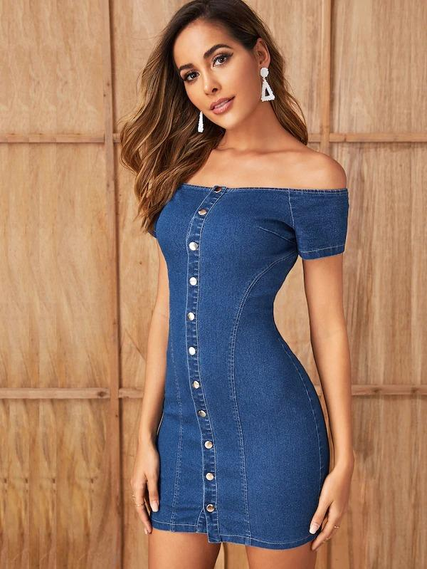 Women Button Front Bardot Bodycon Denim Dress