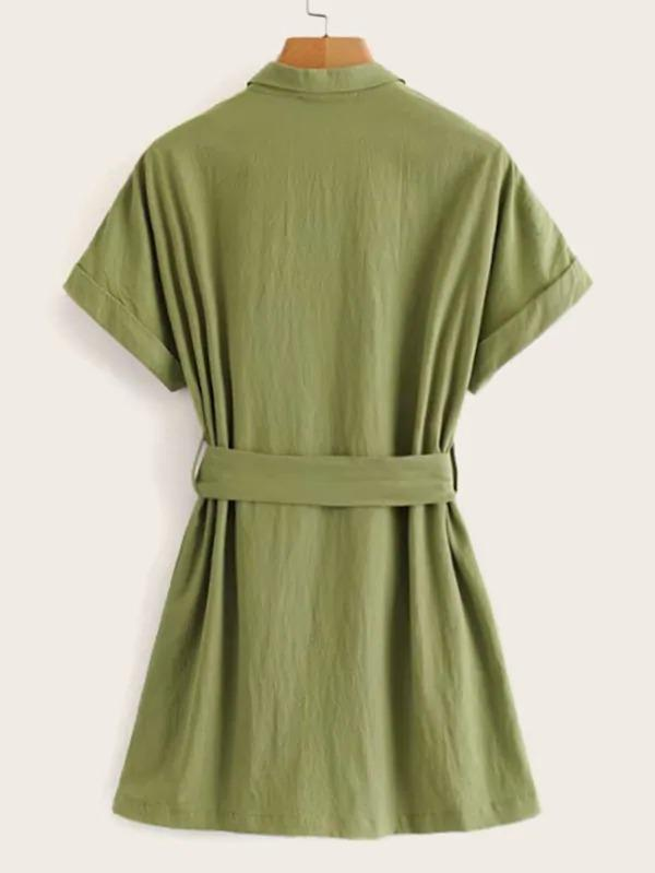 Women Button Through Belted Shirt Dress